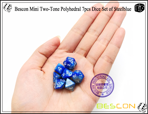 Bescon Mini Two-Tone Polyhedral 7pcs Dice Set of Steelblue-6