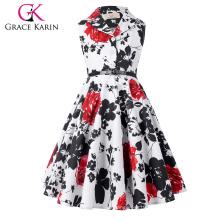 Grace Karin Girls Summer Dress Kids Retro Vintage Dress Sleeveless Lapel Collar Polka Dots Children Party Dress CL009000-5