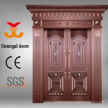Luxo high-end de aço inoxidável porta da villa de cobre