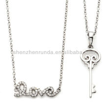 "New Products 214 Jewelry Key Pendant with 20"" Chain and 17"" Pave Crystal ""Love"" Drop Necklace Vners"