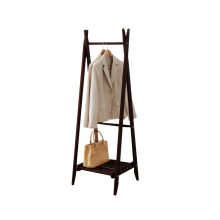 Portable Movable Stand pine Wooden coat hanger shelf for clothes
