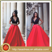 AP-10 2015 Classic Soft A Line Full Length Stain Formal Evening Gown Sexy Deep V Neck Plus Size Red and Black Prom Dresses Cheap