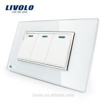Fabricant Livolo Panneau De Verre En Cristal Blanc De Luxe 3 Interrupteurs Muraux Commutateur À Domicile VL-C3K3S-81