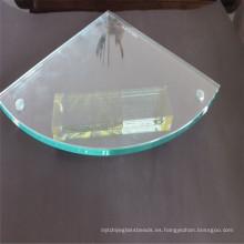Estante de esquina de cristal endurecido de pulido, vidrio de hoja con la perforación