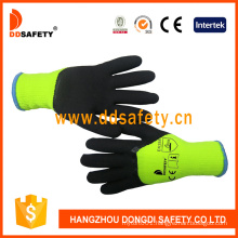 Green Polyester Cotton Shell with Black Latex Foam Coated Work Safety Gloves
