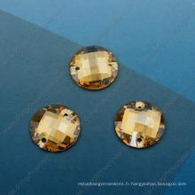 Composants de la mode en pierre ronde en pierre de l'ombre d'or (DZ-3043)