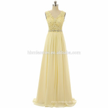Neue Kollektion Perlen Party Kleid Strap echtes Foto Chiffon Bodenlangen Ballkleid Frauen 2017 mit V-Ausschnitt und Reißverschluss-Design