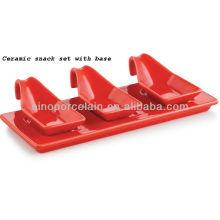 restaurant ceramic appetizer serving dishes set with base for BS12091