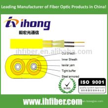 Fibra óptica plana doble dúplex militar táctico blindado cable de interior
