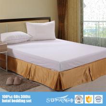 Hotel Linen Telas decorativas de alto grado Five Pleats Hotel de 5 estrellas 100% poliéster Hotel Fitted Bed Skirt
