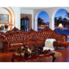 Sofá de canto de couro com moldura de sofá de madeira (D805)