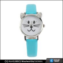 Venda por atacado relógio quente preço aço inoxidável volta gato relógio prata