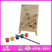 2014 nouveau jeu bébé peinture ensemble, populaire jouet de bricolage bébé peinture jouet, peint à la main en bois Figure série avec Pegment et stylo W03A043