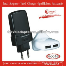 CE,ROHS Approved travel 230v plug adapter two usb with quick charger 2017 international adapter charger plug for 150 countries