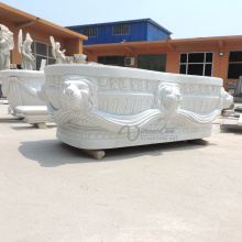 Custom-Made Freestanding White Marble Solid Bathtub for Sale