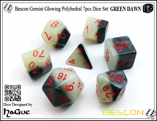 Bescon Gemini Glowing Polyhedral 7pcs Dice Set GREEN DAWN-1