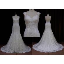 Vestido de noiva simples brilhante com cauda de peixe