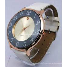 Montre en alliage de bracelet en cuir (HAL-1242)