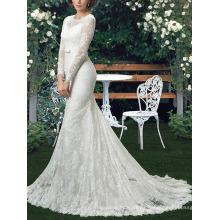 Nuevos vestidos de boda de encargo de la manga del cordón de la sirena del tamaño nupcial del vestido nupcial MW2550