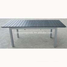 Extension plastic wood table in aluminium frame