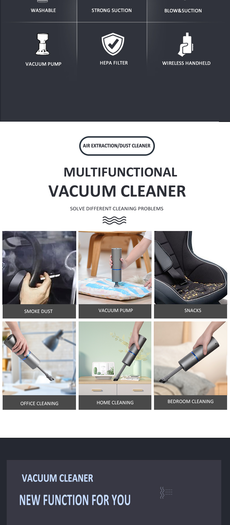 portable car vacuum cleaner pump air remove the vacuum bag keyboard computer cleaner sofa bed sofa rechargeable wireless use