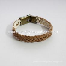 Bracelet en cuir fait à la main comme un bracelet en tresse bracelet en couleur PSL025