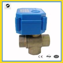 Válvula motorizd de latón con 3 vías en T para el control de agua caliente