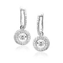 Heiße Verkäufe baumeln Ohrringe 925 silberner Schmucksache-Tanzen-Diamant