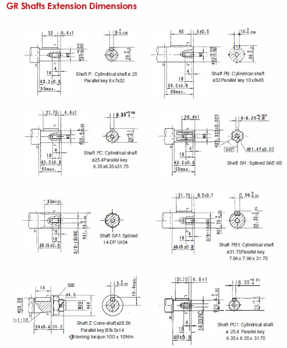 GR Shafts Extension Dimensions