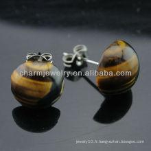 Boucles d'oreilles rondes rondes avec oeillets tigres EF-015