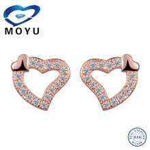 Fashion 925 sterling silver heart shaped crystal stud earring
