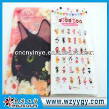Novo design delicado impressão adesivo de plástico com tampa, moda adesivos presentes para crianças