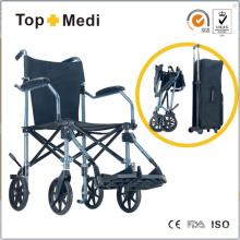 Topmedi alumínio portátil leve dobrável cadeira de rodas de viagem para pessoas com deficiência e idosos