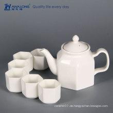 China Awalong Lager reine weiße einzigartige moderne Design sechseckige Form Knochen China Teekanne Teetasse und Untertasse gesetzt