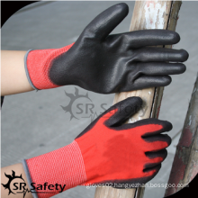 SRSAFETY high quality safety gloves/red polyester palm coated PU light work glove