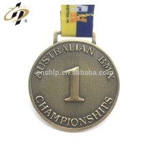 Antique gold zamac sports metal 3D First Place medal hanger