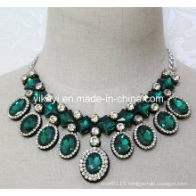 Women Fashion Green Oval Glass Crystal Pendant Collar Necklace (JE0203)