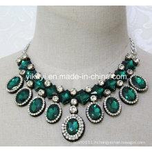 Женская мода зеленый овальный стеклянный Кристалл Кулон воротник ожерелье (JE0203)