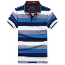 Custom High Quality Men′s Mixed Color Striped Polo Shirt