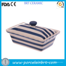 Navy Blue and White Strips Butter Dish with Cover