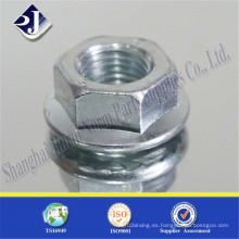 Tuerca de brida plateada de zinc de calidad superior