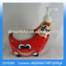 Fresa creativa en forma de botella de cerámica de limpiador con soporte de esponja para la cocina