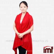 Ladies red color cashmere poncho kintted patten shawl