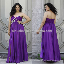 Purple Plus Size Robe de bal 2014 Sweetheart Plein-longueur Criss Cross plissé Top Front Slit Lace-up Chiffon Empire NB0903