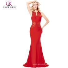 Grace Karin Grace Karin Floor-Length Sleeveless V-Neck Hollowed Back Elegant High Stretchy Long Red Evening Dress GK000121-2