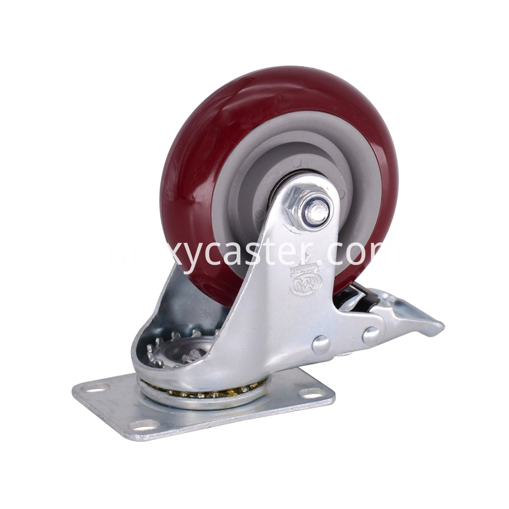 4 Inch Swivel Pvc Caster With Brake