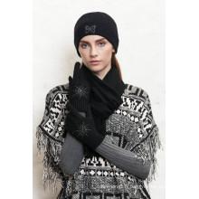 Vente chaude en tricot chapeau avec fleur lapidé avec des prix bas
