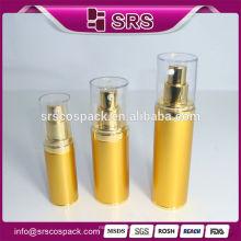 Cosmetic Packaging Alumínio Airless Garrafa E 15ml 30ml 45ml Luxo Gold Superfície Serum Air Pump Garrafa