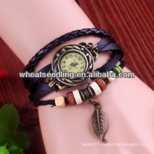 Vintage style wave wrap leather bracelets watch for ladies