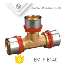 EM-F-B140 good quality tee brass press fitting for PAP pipe U type